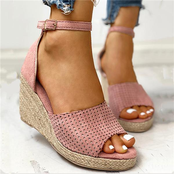 Mokoshoes Ankle Strap Espadrille Wedge Sandals