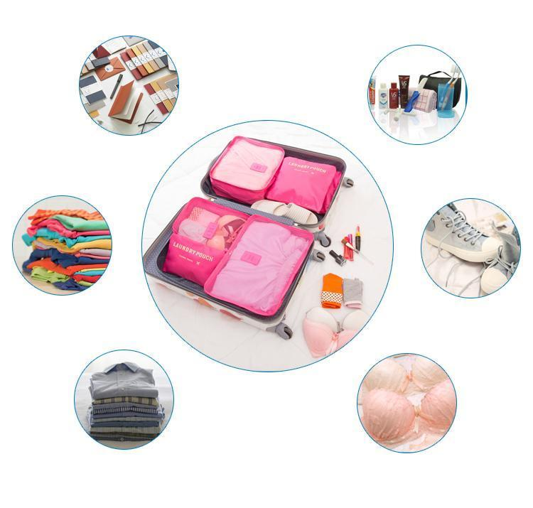 6pcs Nylon Travel Bag Set Large Capacity Clothing Sorting Organizer