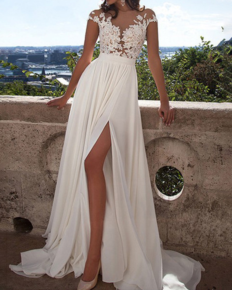 Sexy Solid Color Lace Slit Evening Dress