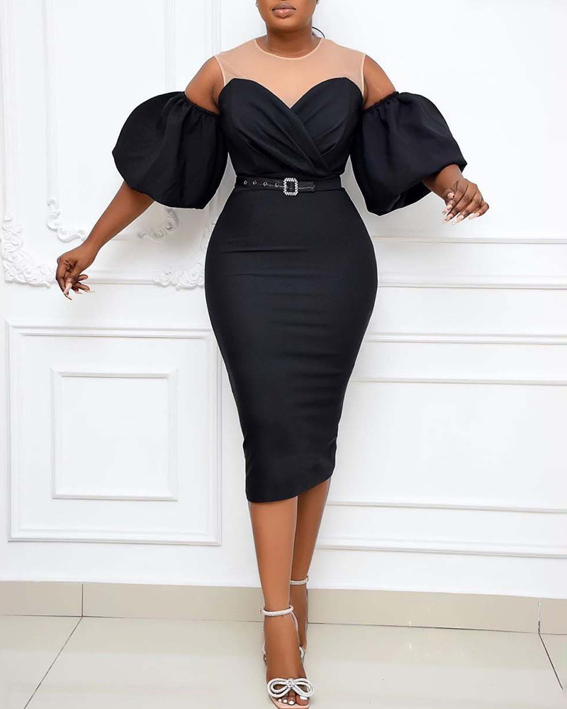 Sexy Puff Sleeve Midi Evening Dress