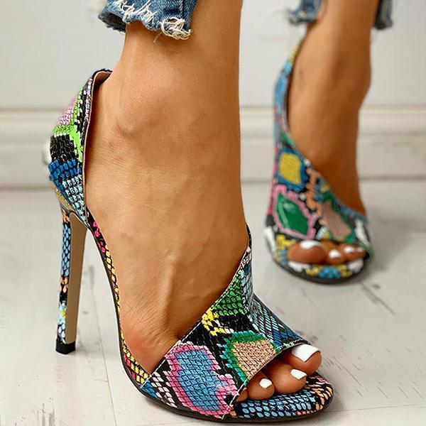 Bonnieshoes Colorblock Snakeskin Open Toe Thin Heeled Sandals