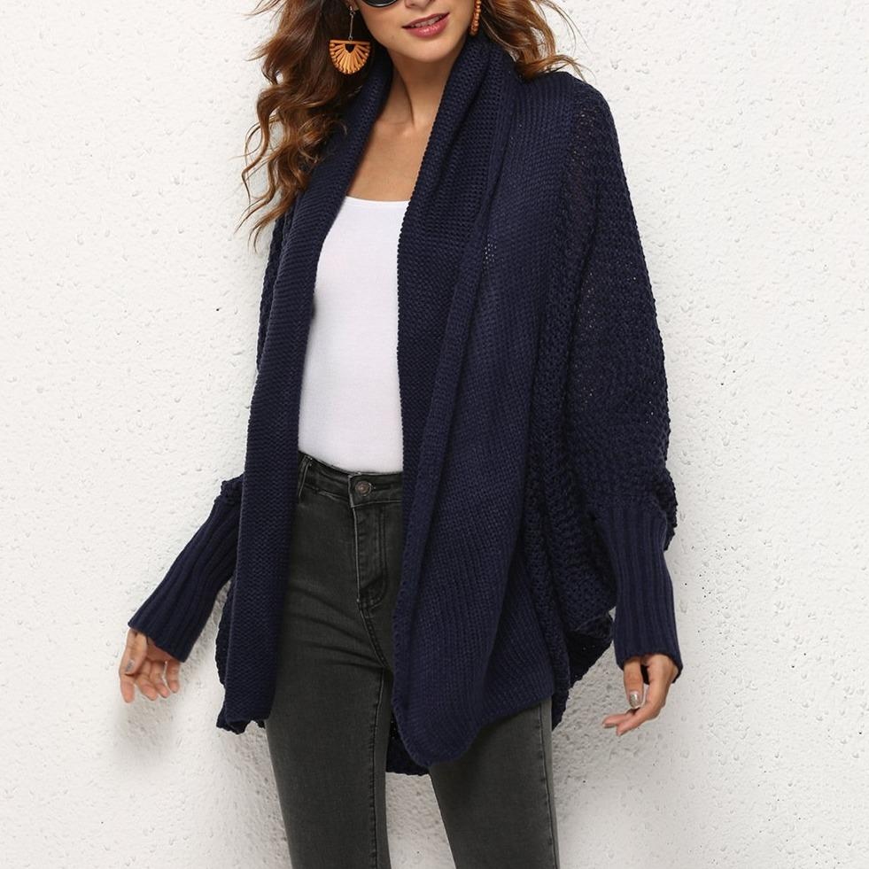 Women's open front batwing cocoon cardigan sweater knitted cardigan for fall/winter