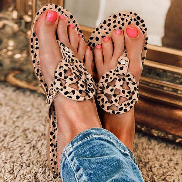 Upawear Leopard Printed Hollow Out Beach Slippers