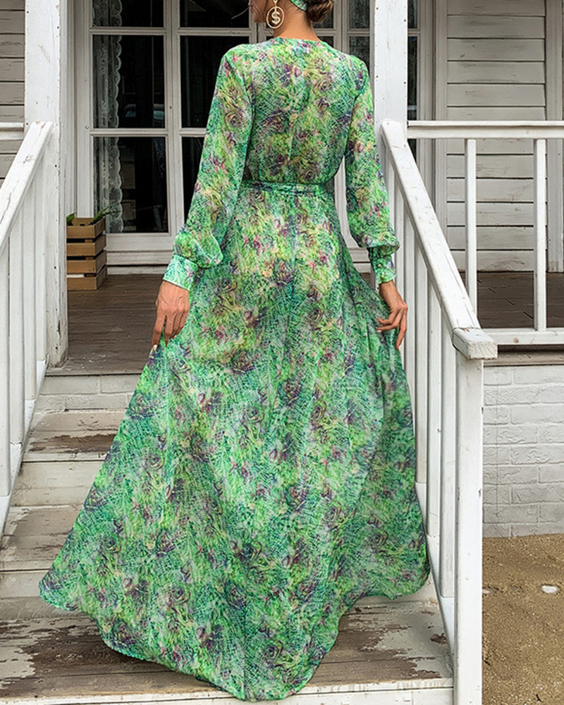 V-Neck Chiffon Floral Waist Maxi Evening Dress