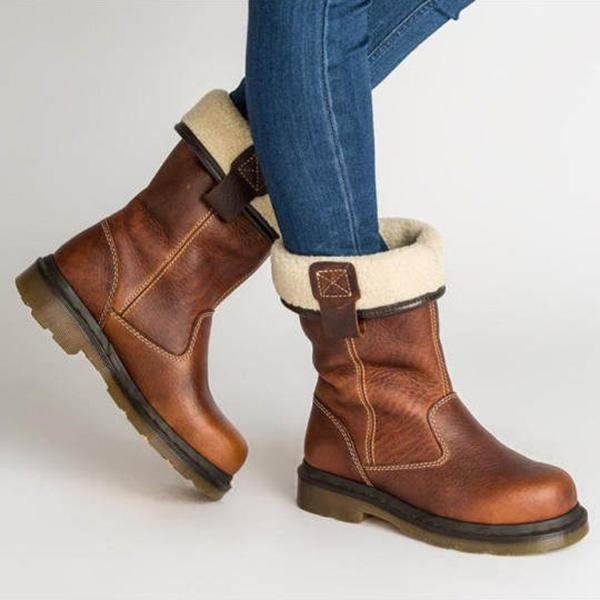 Upawear Plain Flat Round Toe Date Outdoor Mid Calf Flat Boots