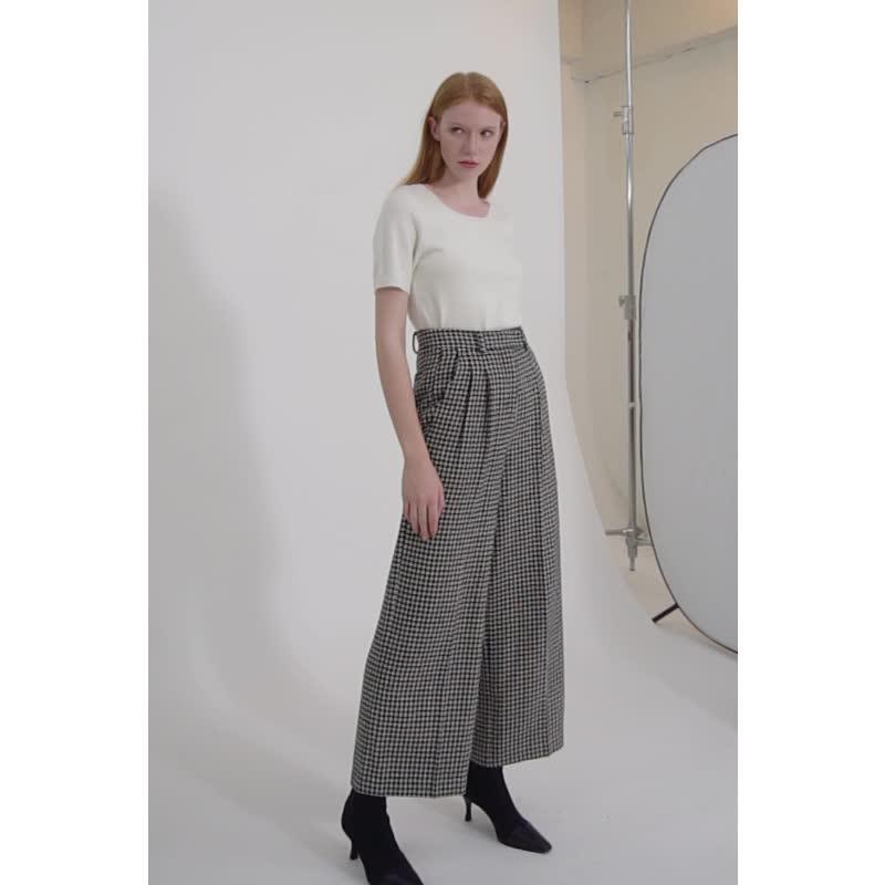 houndstooth casual vintage loose wide leg elegant women career office style high waist  long pants-carrot trousers 2.11