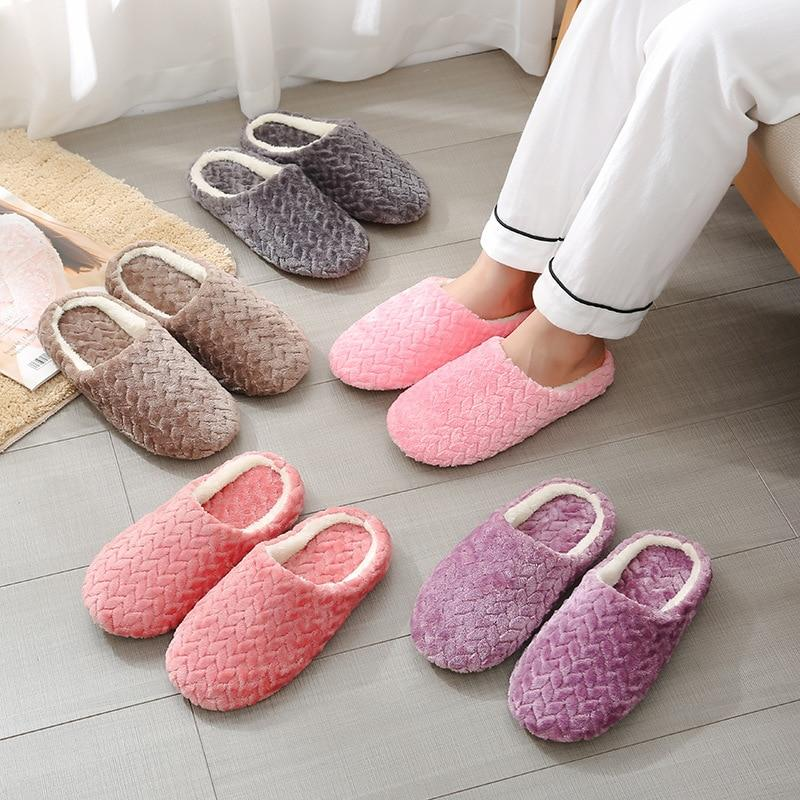 Womens's plush warm house shoes anti-slip wtinter indoor slippers closed toe