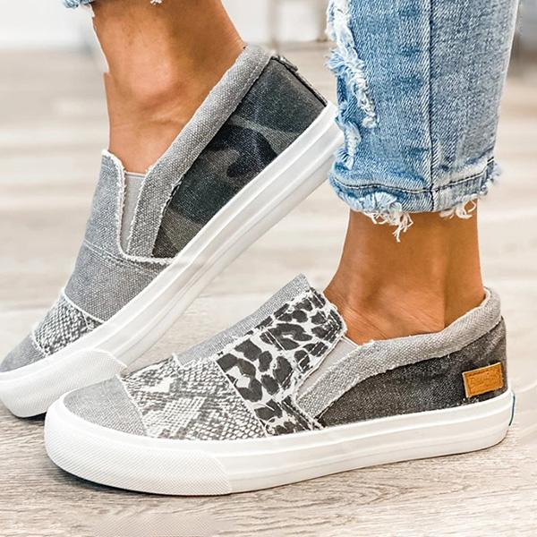 Mokoshoes Pieced Raw Edge Animal Print Canvas Slip-On Flats