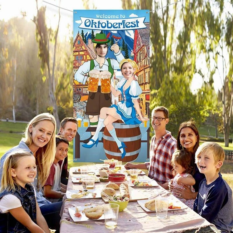 Oktoberfest Party Decorations Oktoberfest Photo Prop Giant Photo Booth Background Funny Oktoberfest Games Supplies For Bavarian Beer Festival 70.8*35.4 Inch