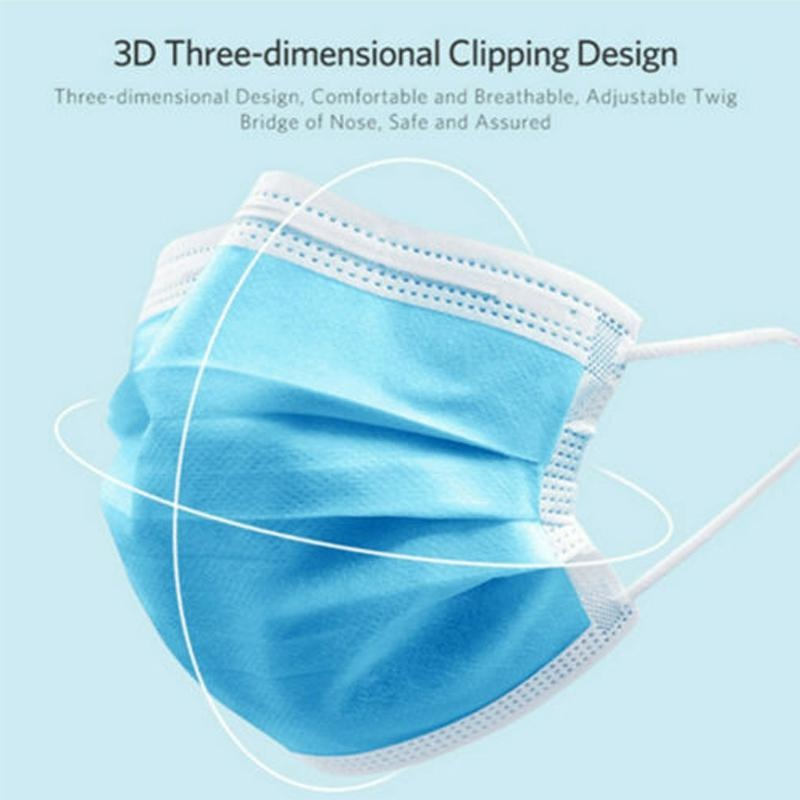 Non Woven Face Mask Disposable Ear loop Mouth Protective Face Mask 3 Layers Anti Dust Face Masks