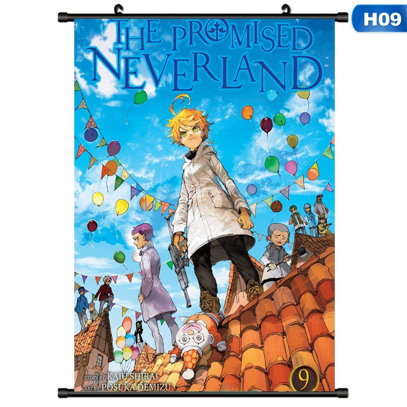 The Promised Neverland Anime Scroll Painting Emma Norman Ray Isabella Wall Poster