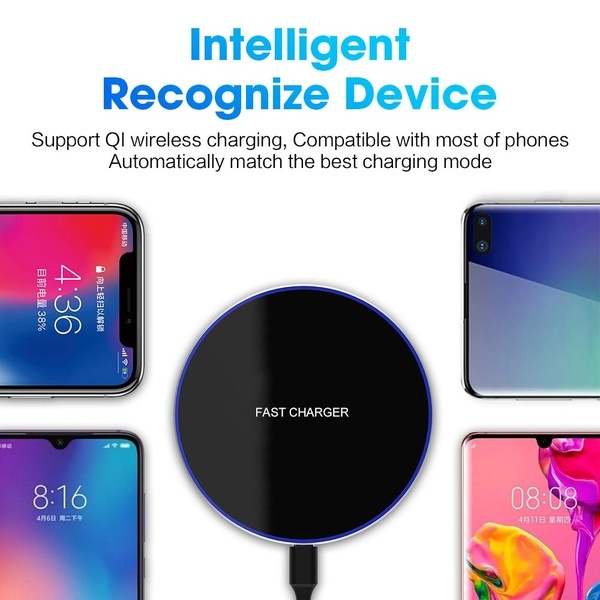 FDGAO Qi Wireless Charger 15W Fast Wireless Charging Pad Phone Charger Dock for Iphone X Xs Max Xr 8plus 8 Samsung S10 S9 S8 Galaxy Note 9 8 Huawei P30 P20 Pro