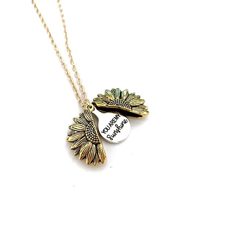 2019 New You Are My Sunshine Necklace Alloy Customized Open Locket Sunflower Pendant Necklace Women Girls Lovers Gift