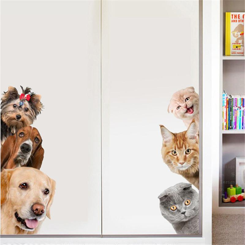 3D Cat Dog Pattern Decoration Wall Stickers Waterproof Wallpaper
