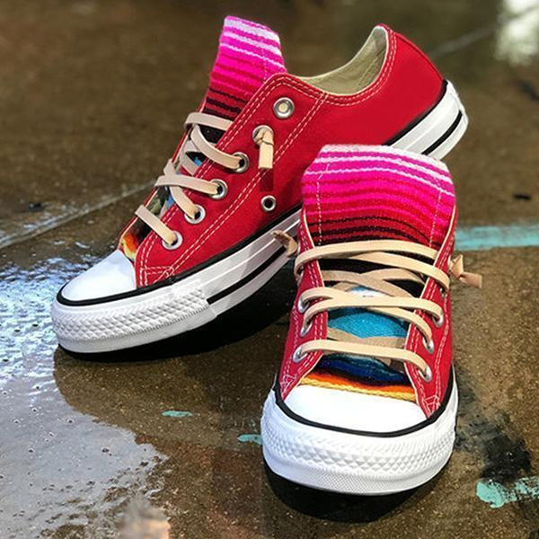Mokoshoes Lace-Up Thread Low-Cut Upper Round Toe Flat With Sneakers