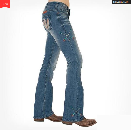 Feather & Dreamcatcher Embroidery Washed Bootcut Jeans