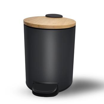 3L 5L Small Round Fingerprint-Proof Black Metal Step Trash Can with Bamboo Lid trash can-1.20