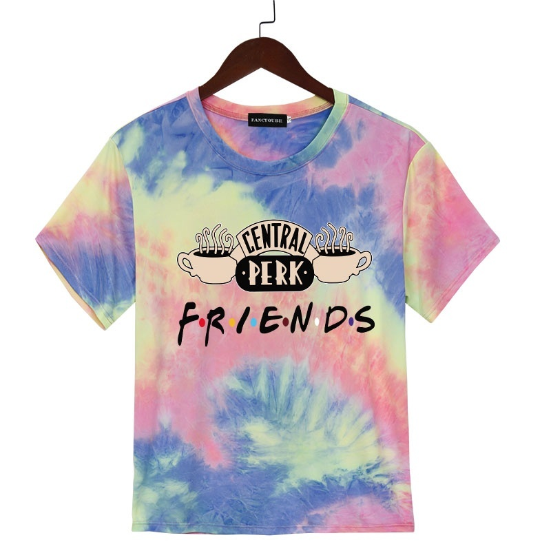 Friends Tv Show Printed Casual Central-perk Letter Printed Short Sleeves T-shirt