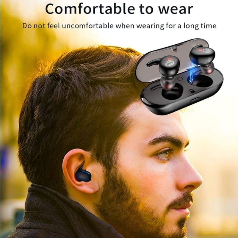 Bluetooth 5.0 HiFi 8D Sound TWS Wireless Earphones IPX7 Waterproof Stereo Sport Bluetooth Headset Noise Cancelling Headphones Mini In Ear Bluetooth Earbuds with Charging Case