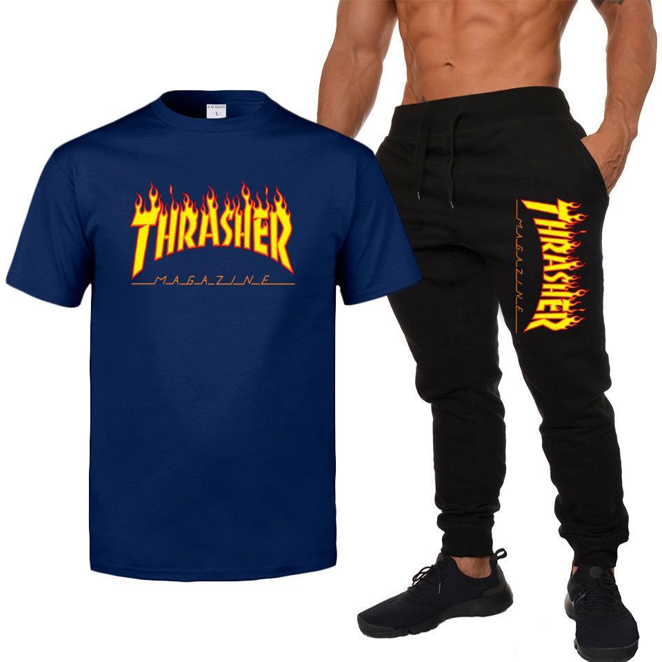 Men Tracksuits Casual Jogger Set Thrasher flame Shirts and Joggers