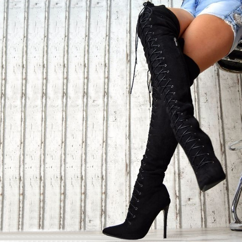 Women Fashion Ultra High Heels Over The Knee Boots Pointed Toe Lace Up Stiletto Thigh High Boots Solid Color Autumn and Winter Suede Bandage Long Boots