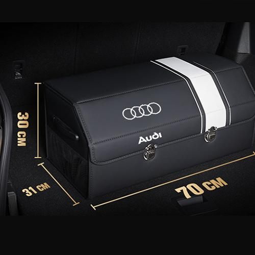 [Hot sale!!!] Luxury car LOGO black leather trunk storage box