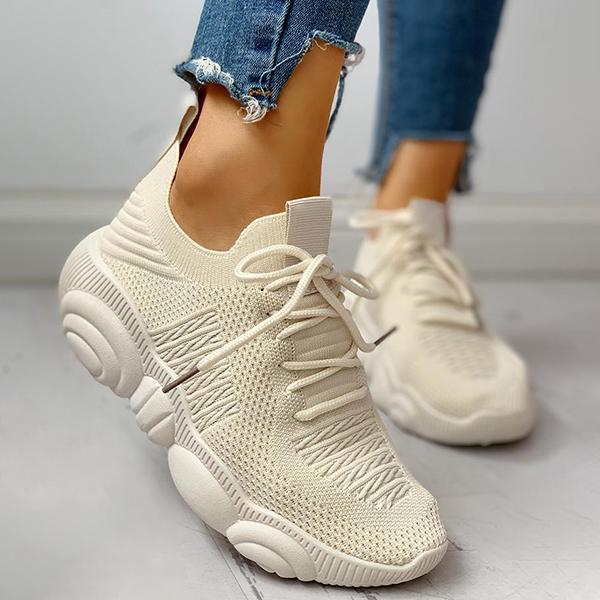 Mokoshoes Non-Slip Knitted Breathable Lace-Up Yeezy Sneakers