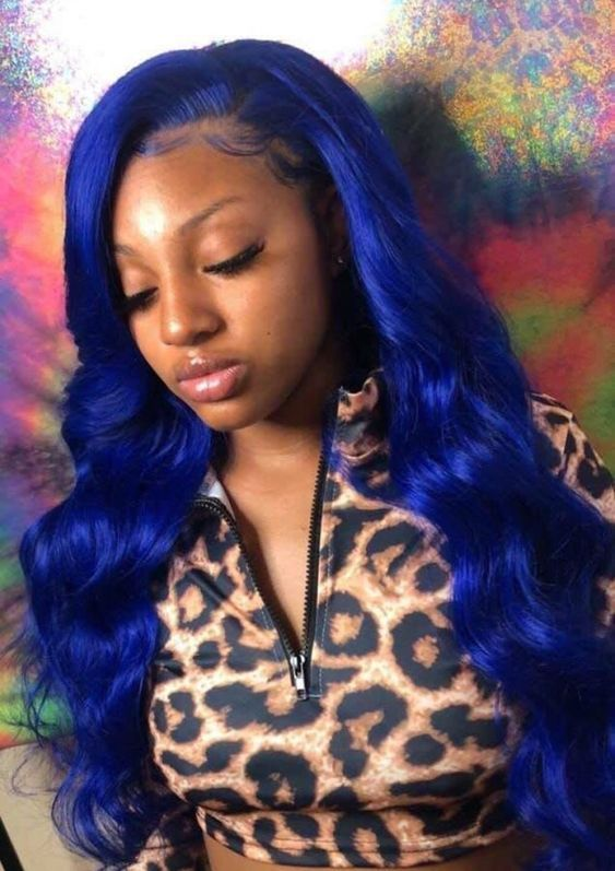 Blue Wigs Lace Frontal Wigs Cheap Human Wigs Sparks Mermaid Blue Light Blue Costume Jewelry Blue Ombre Synthetic Wig