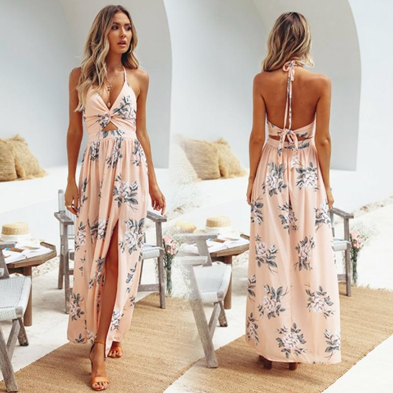 Boho Maxi Halter Long Dress