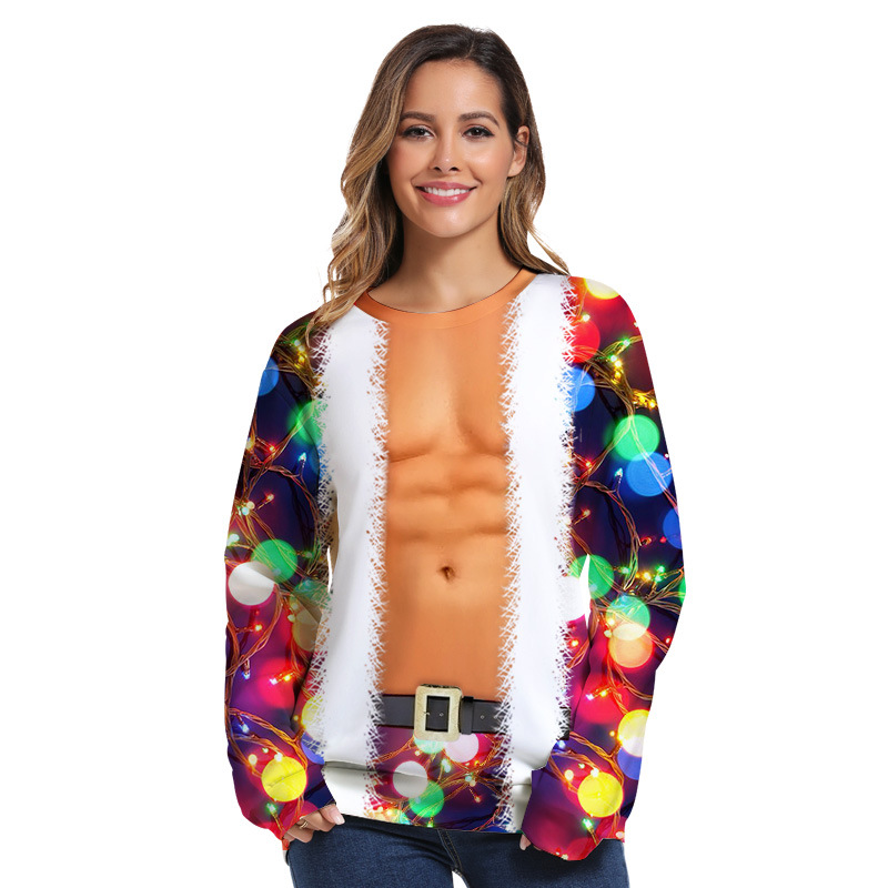 4 Ugly Christmas Sweatshirt Novelty 3D Graphic, Adult Neutral