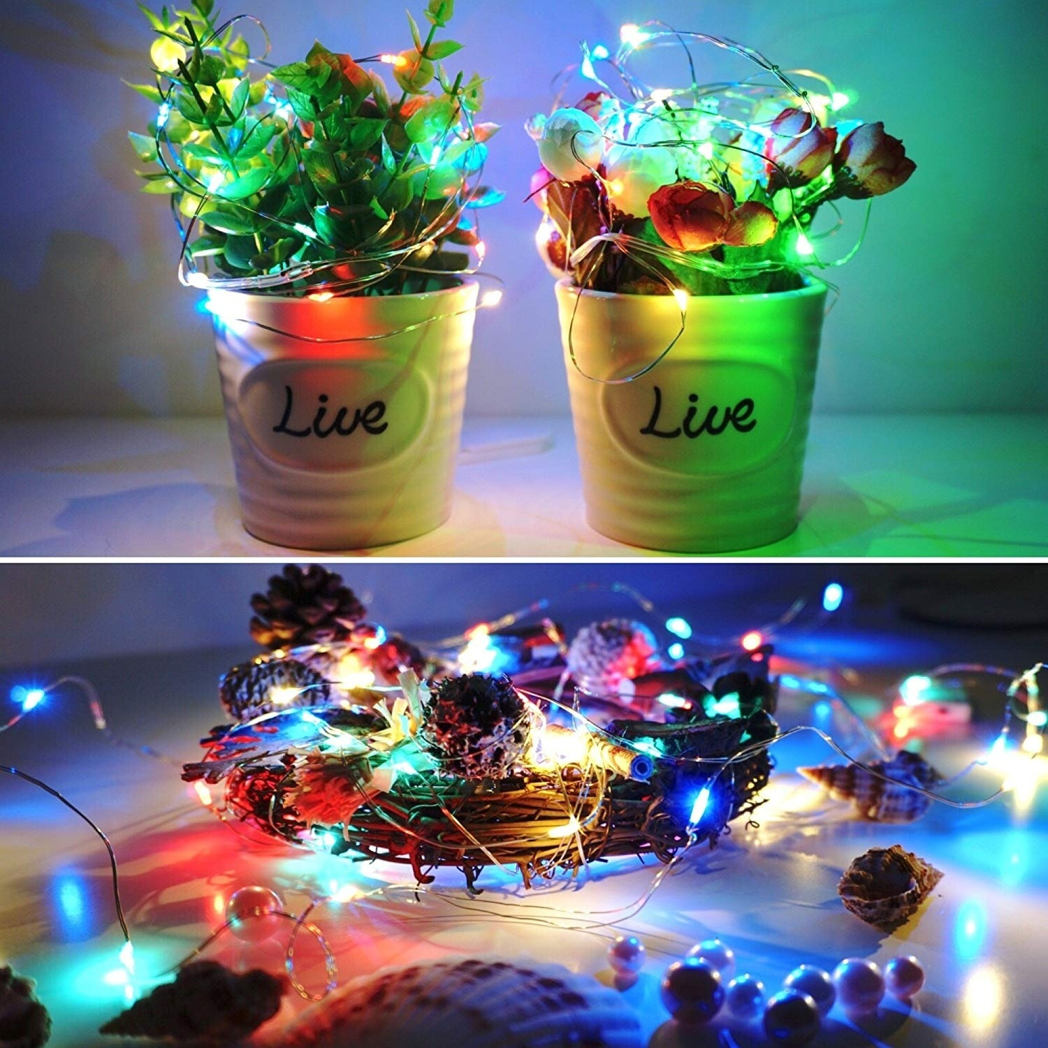 2 Pack LED Copper Wire String Fairy Lights Bottle Jar Inside Decorative Fairy Light