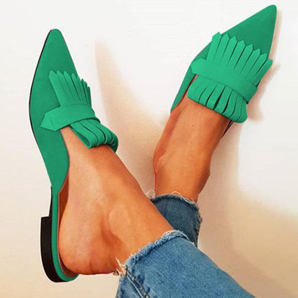 Mokoshoes Pointed Toe Low Heel Slide Sandals
