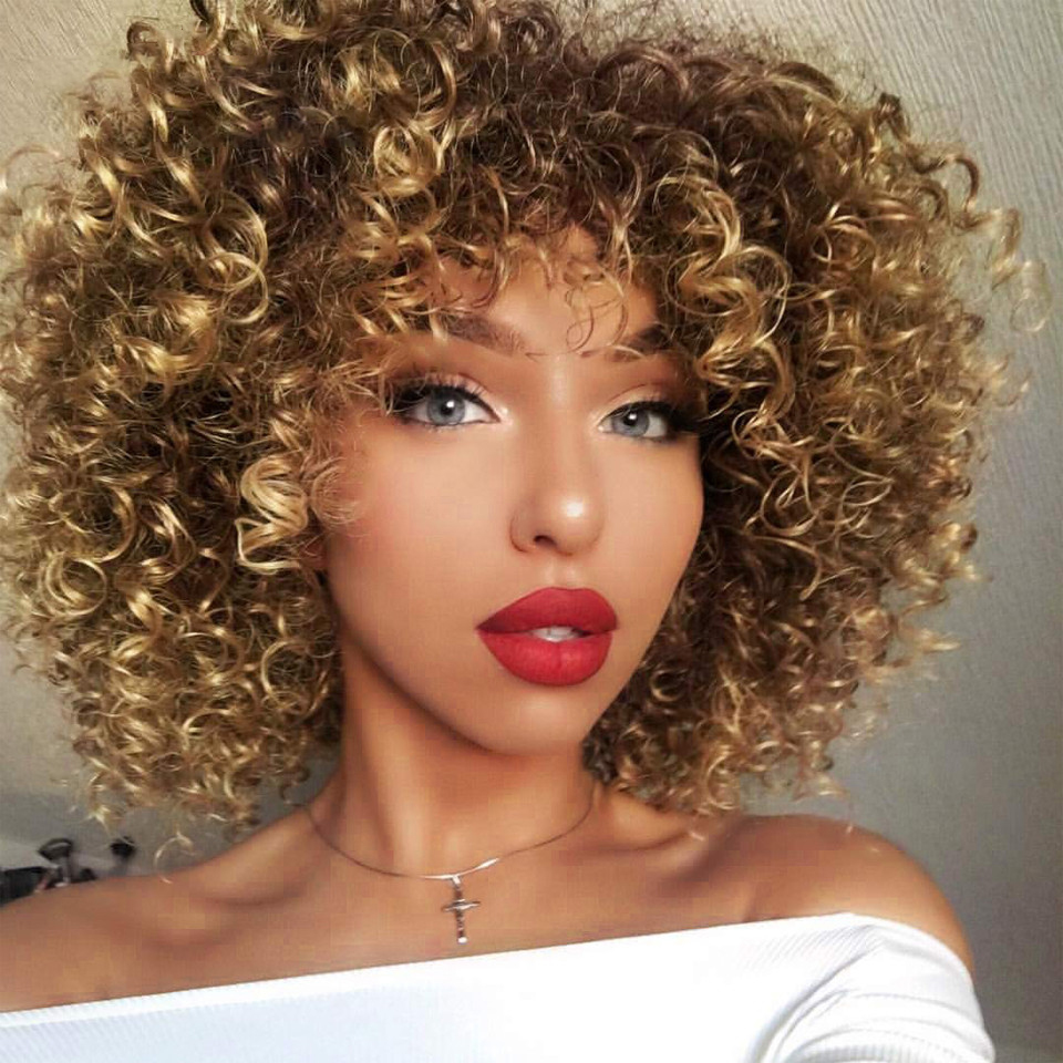 Lacwig®    Afro Kinky Curly Wig Synthetic Short Wig With Bangs Mixed Brown and Blonde Wig for Black Women
