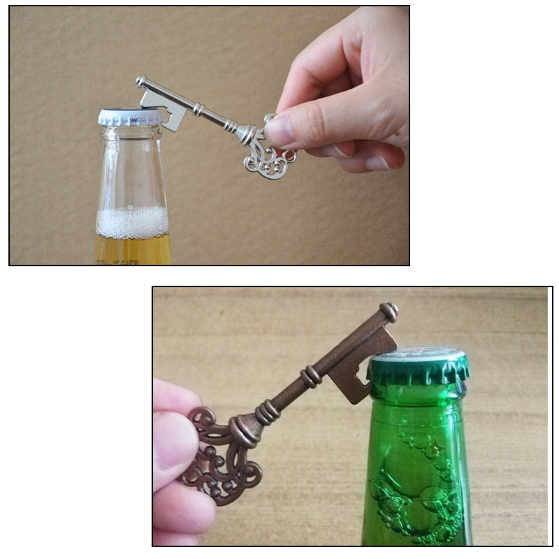 Key Shape Beer Bottle Opener Retro Metal Multifunction Keyring Hanging Keychain for Wedding Party