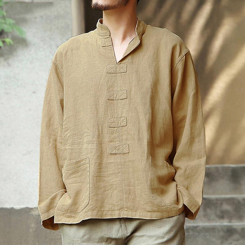 Comfortable V-neck Cotton And Linen Long-sleeved Shirt