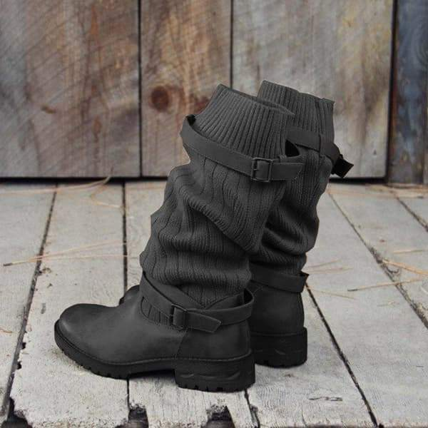 Bonnieshoes  Cabin Sweater Paneled Boots