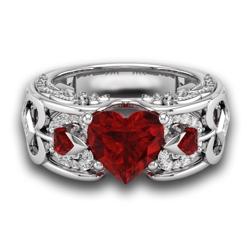 New Fashion  Princess 925 Sterling Silver Natural Ruby Gemstones Birthstone Bride Wedding Engagement Heart Ring Size US 6 7 8 9 10Quality Assurance Unique ring
