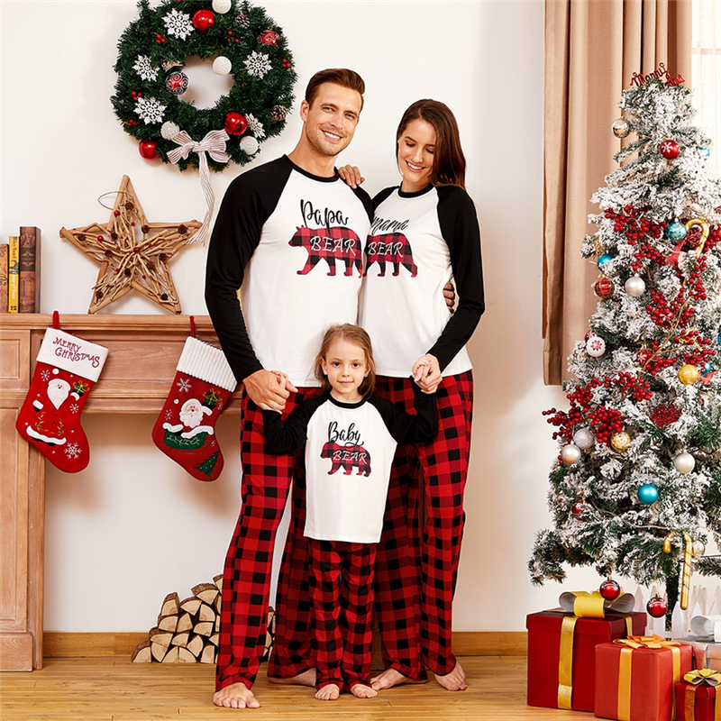 Bear Letter Print Tops + Loose Plaid Pants Family Matching Christmas Pajamas