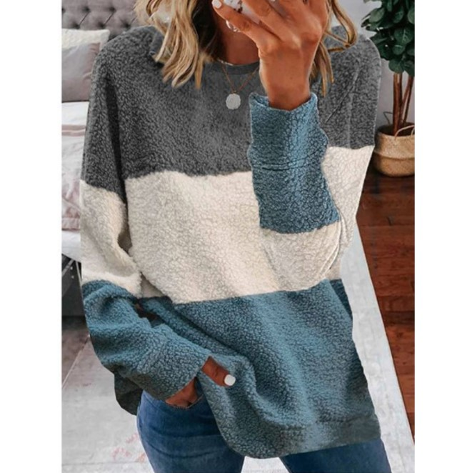 Plush stitching contrast sweater