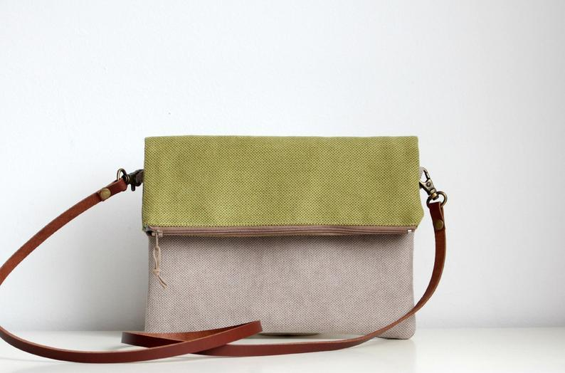 Foldover crossbody bag, Every day purse,  Handbag, Leather strap, Green        Update your settings