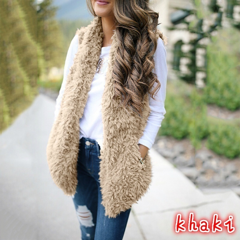Autumn Winter Women's Fashion Solid Color Furry Vest Soft and Comfortable Vest Jacket Warm Casual Sleeveless Jacket