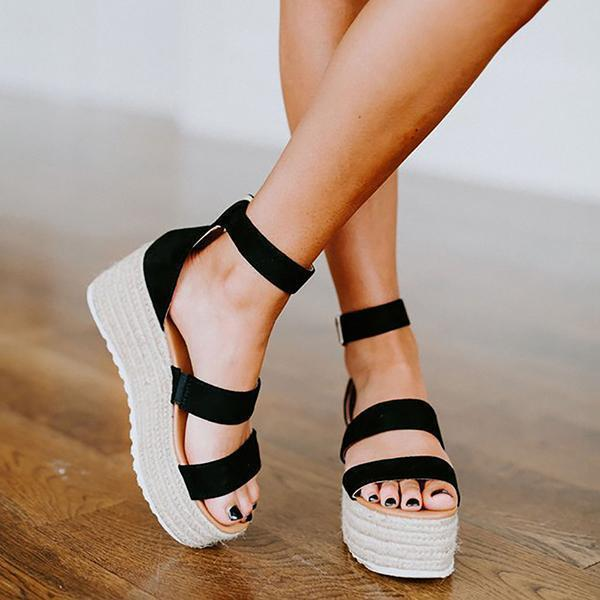 Zoeyootd Espadrille Open Toe Ankle Strap Platform Sandals (Ship in 24 Hours)